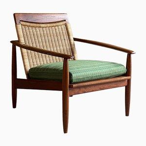 Mid-Century Sessel mit Gestell aus Teak & Sitz aus Rohrgeflecht, 1950er
