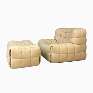Vintage Lounge Chair and Ottoman Set by Michel Ducaroy for Ligne Roset, 1980s