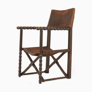 Armlehnstuhl mit Gestell aus Holz & Bespannung aus Leder, 1950er