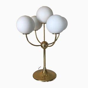 Lámpara de mesa de latón y vidrio opalino, años 70