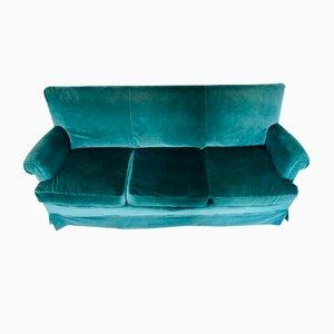 Sofá de tres plazas de terciopelo azul, años 60