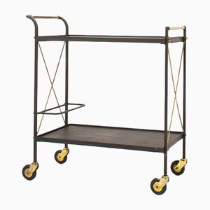 Metal Brass and Leatherette Trolley, 1950s