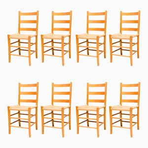 Swedish Oregon Pine Dining Chairs, 1960s, Set of 8