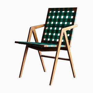 Chaise d'Appoint Architecturale en Noyer, années 50