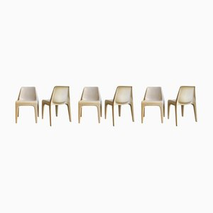 White Plastic Stackable Dining Chairs from Schröder & Henzelmann, 1970s, Set of 6