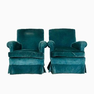 Blue Velvet Lounge Chairs, 1960s, Set of 2