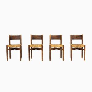 Meribel Esszimmerstühle von Charlotte Perriand für Steph Simon, 1950er, 4er Set