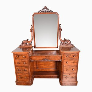 Antique Victorian Mahogany Pedestal Dressing Table