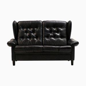 Danish Black Leather Sofa, 1940s