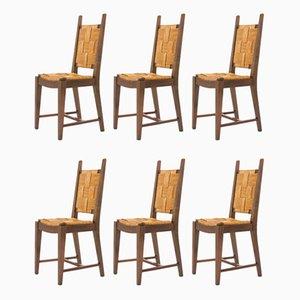Esszimmerstühle aus Strohgeflecht & Nussholz, 1950er, 6er Set
