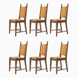 Walnut and Straw Dining Chairs, 1950s, Set of 6