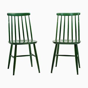 Mid-Century Green Dining Chairs by Ilmari Tapiovaara, Set of 2