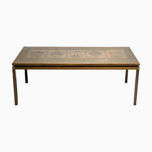 Mid-Century Rosewood & Embossed Copper Coffee Table