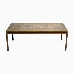 Table Basse Mid-Century en Palissandre et en Cuivre Embossé