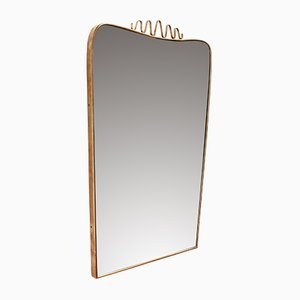 Italian Brass and Flourish Mirror, 1950s