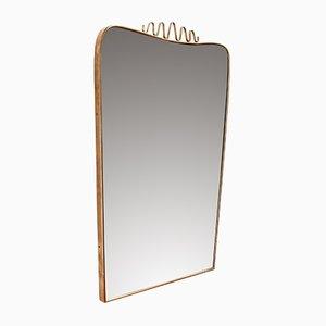 Italian Brass and Flourish Mirror, 1950s