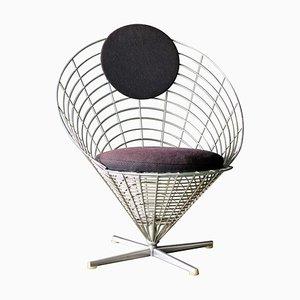 Poltrona conica con rete metallica di Verner Panton per Plus Linje, 1958