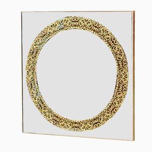 Quadratischer Spiegel mit Rahmen aus Kupfer & Messing von Alguacil & Perkoff Ltd