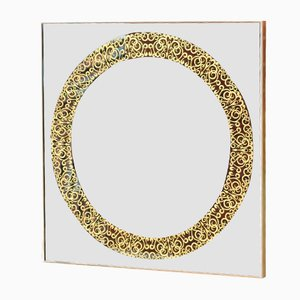Square Copper and Brass Framed Mirror by Alguacil & Perkoff Ltd