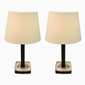Black Leather & Glass Table Lamps from Uppsala Armaturfabrik, 1950s, Set of 2