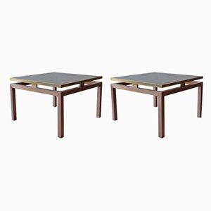 Tables d'Appoint Mid-Century en Laiton par Guy Lefevre pour Maison Jansen, années 60, Set de 2