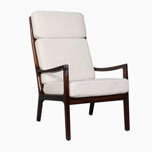 Mid-Century Senator Mahogany and Wool Armchair by Ole Wanscher for Cado