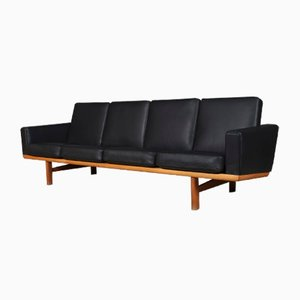 Model 236/4 Oak and Leather Sofa by Hans J. Wegner for Getama, 1960s
