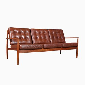Model 128 Teak and Leather Sofa by Ole Wanscher for France & Søn/France & Daverkosen, 1960s