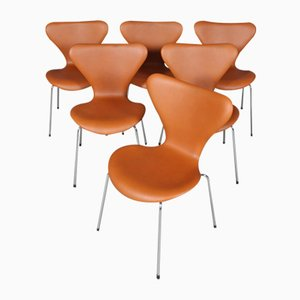 Sedia da pranzo modello 3107 in pelle anilina e acciaio tubolare di Arne Jacobsen per Fritz Hansen, anni '60