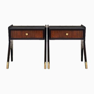 Mid-Century Italian Rosewood Nightstands, 1950s, Set of 2