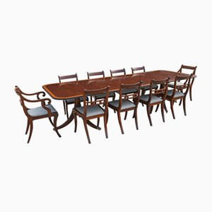Antique Regency Style Mahogany Dining Table and Chairs Set, Set of 11