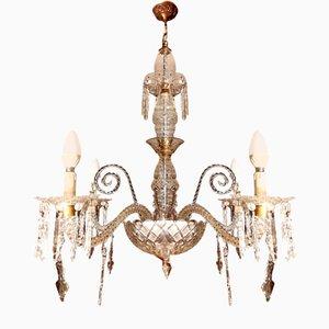 Antiker Kronleuchter mit Behang aus Kristallglas
