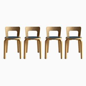 Modell 65 Esszimmerstühle von Alvar Aalto für Artek, 1950er, 4er Set