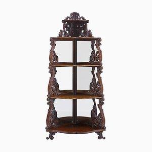 Mobiletto ad angolo vittoriano antico in mogano intagliato con specchi