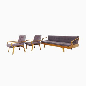 Mid-Century Sofa and Armchairs Set, 1960s, Set of 3