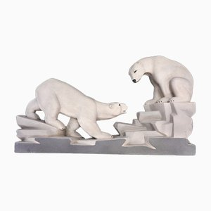 Art Deco French Polar Bear Sculpture by Charles Lemanceau, 1930s