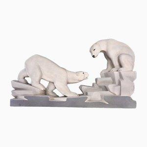 Französische Art Déco Eisbären Skulptur von Charles Lemanceau, 1930er