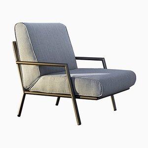 Sessel mit Stoffbezug & Gestell aus Eisen & Bronze von Jacobo Ventura für CA Spanish Handicraft