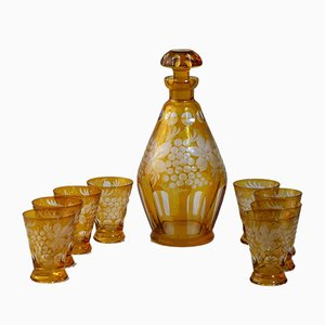 Antique Bohemian Carafe and Glasses, Set of 9
