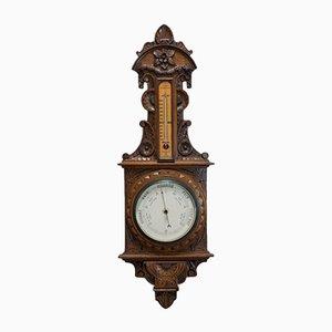 Vintage English Oak Factory Barometer, 1940s