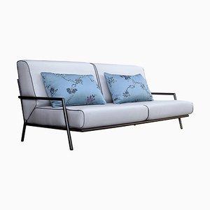 2-Sitzer Sofa aus Eisen, Stoff & Bronze von Jacobo Ventura für CA Spanish Handicraft