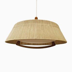 Grande Lampe à Suspension Raffia Vintage de Temde, années 60