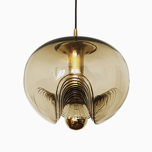 Smoked Glass Wave Pendant Lamp by Koch & Lowy for Peill & Putzler, 1960s