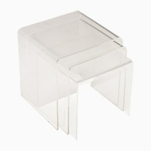 Lucite Nesting Tables, 1970s, Set of 3