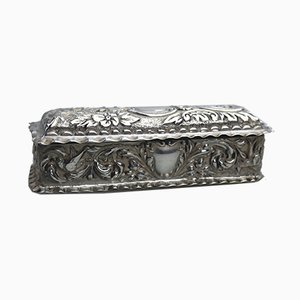 Antique Silver Floral and Bird Box, 1898