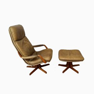 Mid-Century Danish Leather Lounge Chair and Ottoman Set