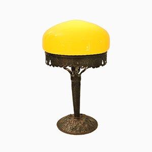 Schwedische Jugendstil Tischlampe aus Glas & Kupfer, 1920er