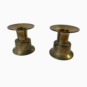 Vintage Scandinavian Brass Candleholders by Rolf Karlsson, 1960s, Set of 2