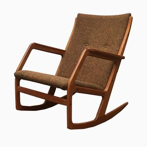 Mid-Century Danish Teak Model 100 Rocking Chair by Søren Georg Jensen for Kubus Møbler, 1960s