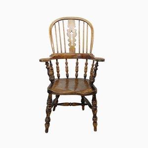 Antiker Armlehnstuhl aus Ulmen- & Eschenholz